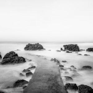 Biarritz, plage de Milady, pause longue noir et blanc