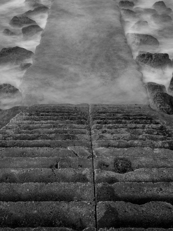Biarritz, plage de Milady, downstairs, pause longue, tirage d'art noir et blanc